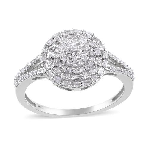 0.50 Ct Diamond Cluster Ring in 9K White Gold SGL Certified I3 GH