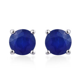 Blue Spinel (Rnd) Stud Earrings (with Push Back) in Platinum Overlay Sterling Silver 1.000 Ct.
