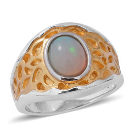 Ethiopian Welo Opal (Ovl 9x7 mm) Solitaire Ring in Two Tone Overlay Sterling Silver 1.150 Ct., Silve