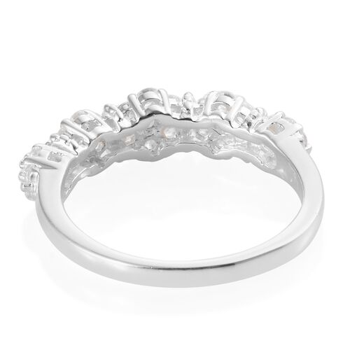 J Francis - Sterling Silver (Rnd) Floral Ring Made with SWAROVSKI ZIRCONIA