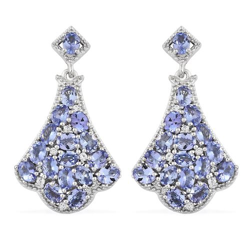 Tanzanite (Ovl), Natural Cambodian Zircon Earrings in Platinum Overlay Sterling Silver 6.250 Ct. Sil