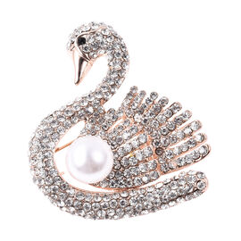 Simulated Pearl and Black with White Austrian Crystal Swan Brooch in Rose Gold Tone
