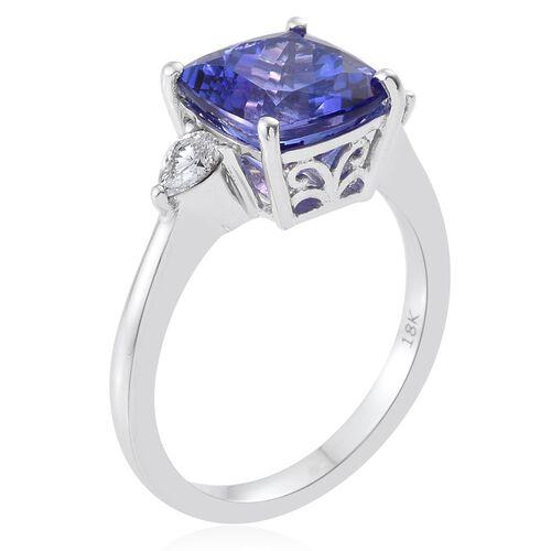 ILIANA 4 Carat AAA Tanzanite with IGI Certified (SI/G-H) Diamond Ring in 18K White Gold