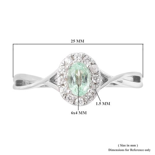 Boyaca Colombian Emerald (Ovl 6x4 mm), Natural White Cambodian Zircon Ring in Rhodium Overlay Sterling Silver
