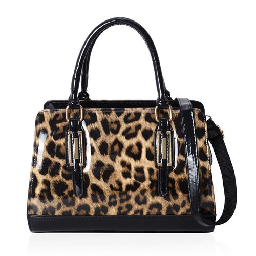 HONG KONG CLOSE OUT- High Glossed Leopard Pattern Handbag with Adjustable and Removable Shoulder Strap (Size 30x22x13 Cm)