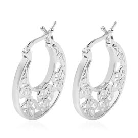 LucyQ Lace Collection - Filigree Hoop Earrings in Rhodium Overlay Sterling Silver