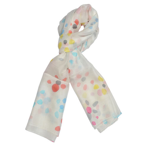 100% Mulberry Silk Red, Blue, Off White and Multi Colour Hand Screen Dots Printed Scarf (Size 180x10