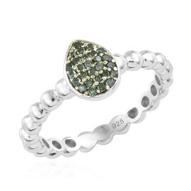 Green Diamond (Rnd) Band Ring in Platinum Overlay with Green Plating Sterling Silver 0.150 Ct.