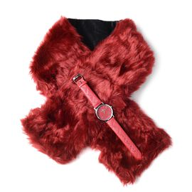 STRADA Japanese Movement Watch with Wine Red Colour Strap and Wine Red Colour Faux Fur Scarf (Size 100x15 Cm)