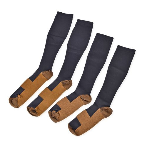 Anti Fatigue Copper Infused Fiber and Compression Socks Set of 2 Pairs (S/M) and (L/XL)