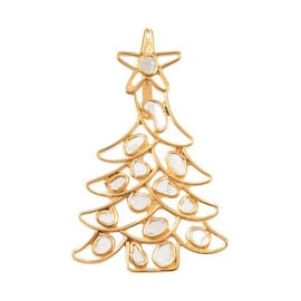 Artisan Crafted Polki Diamond Tree Pendant in Yellow Gold Overlay Sterling Silver - 1.43 Ct.