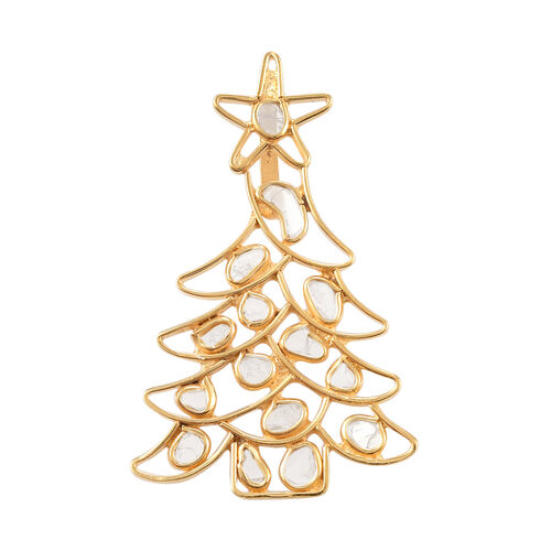 Artisan Crafted Polki Diamond Christmas Tree Pendant in Yellow Gold Overlay Sterling Silver - 1.43 C