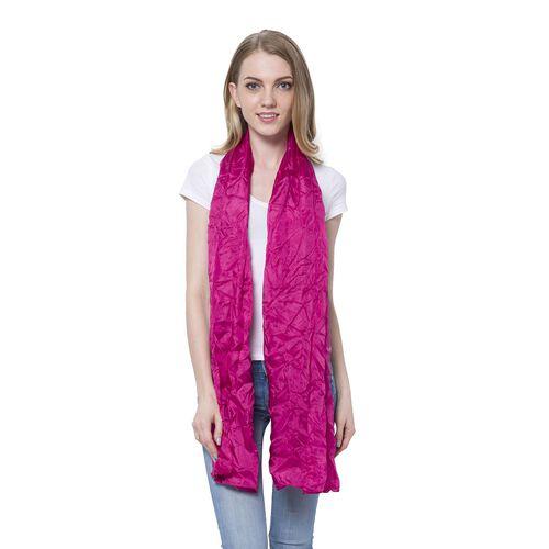 100% Mulberry Silk Pantone Fuchsia Colour Scarf (Size 180x110 Cm)
