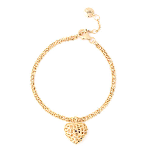 RACHEL GALLEY Tanzanite Lattice Heart Charm Bracelet in Gold Plated Silver 8 Inch with Extender
