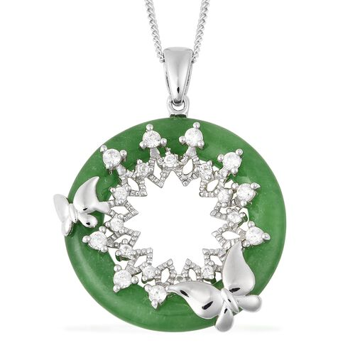 13.10 Ct Green Jade and Zircon Circle Pendant with Chain in Rhodium Plated Silver 18 Inch