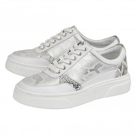 Lotus Stressless Leather Venice Lace-Up Trainers in White Colour