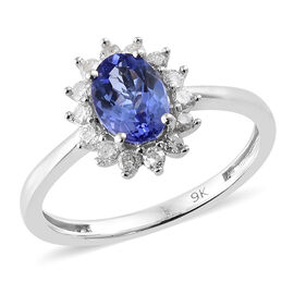 9K White Gold  AA Tanzanite (Ovl), Diamond Halo Ring 1.000 Ct.