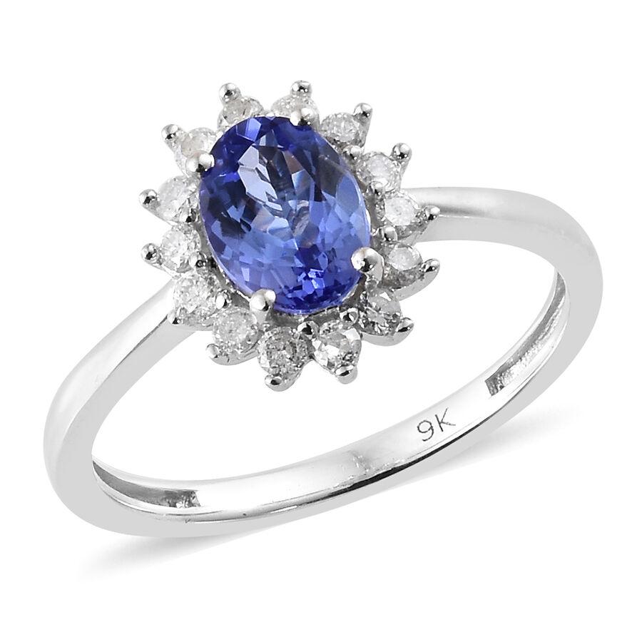 Diamond Halo Tanzanite: 1 Carat AA Tanzanite And Diamond Halo Engagement Ring In