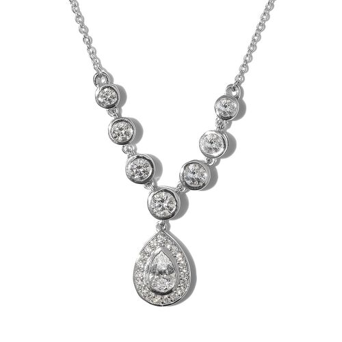 J Francis - Platinum Overlay Sterling Silver (Pear and Rnd) Necklace (Size 18) made with SWAROVSKI Z