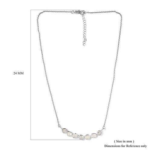 Artisan Crafted Polki Diamond Necklace (Size 20 with Extender) in Platinum Overlay Sterling Silver 1.00 Ct, Silver wt 6.00 Gms