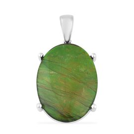 RHAPSODY 7.75 Ct Canadian Ammolite Solitaire Pendant in 950 Platinum 4.3 Grams