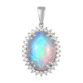 RHAPSODY 950 Platinum AAAA Ethiopian Welo Opal and Diamond  Pendant 8.00 Ct, Platinum wt 5.00 Gms
