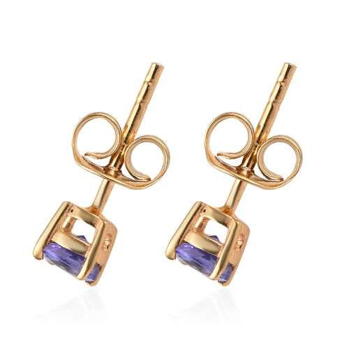 2 Piece Set - Tanzanite (Rnd) Solitaire Pendant and Stud Earrings (with Push Back) in 14K Gold Overlay Sterling Silver 1.000 Ct.