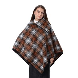 High Neck Plaid Pattern Poncho with Brooch (Size 100x90 Cm) Chocolate and White Colour
