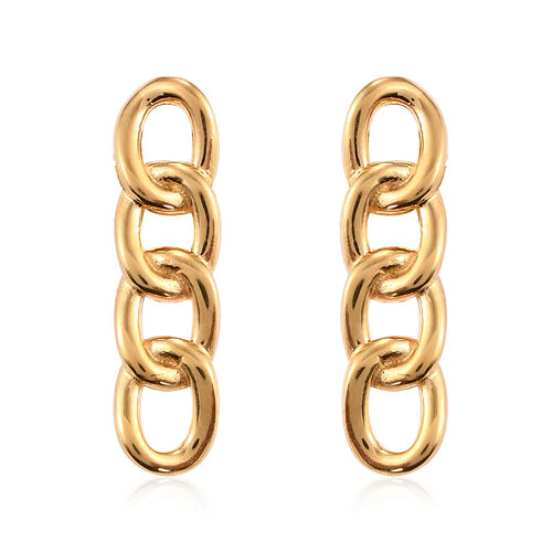 14K Gold Overlay Sterling Silver Curb Link Earrings (with Push Back)