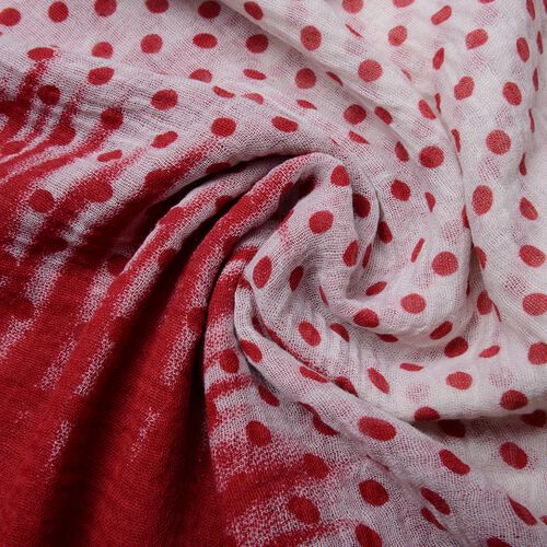 Designer Inspired-Wine Red and Off White Colour Polka Dots Pattern Scarf (Size 180x90 Cm)