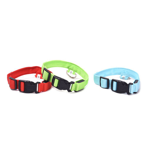Set of 3 Adjustabe LED Pet Collars (Size S, 40-35cm) - Red, Blue and Green