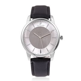TJC GENOA Faceted Sunray Dial Japanese Movement Water Resistant Watch with Black Strap