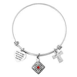 2 Piece Set - Red Austrian Crystal Adjustable Charm Bangle (Size 7.5) and  Funnel with Needle in Sta
