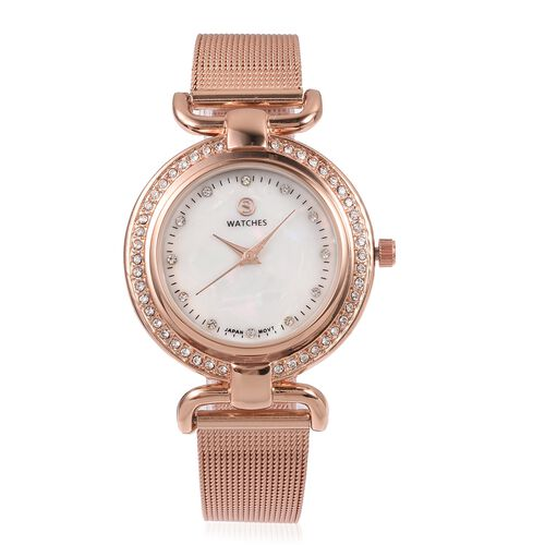STRADA Japanese Movement White Austrian Crystal Studded Water Resistant Watch in Rose Gold Tone