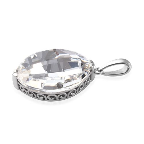 J Francis - Crystal from Swarovski White Crystal Pendant in Platinum Overlay Sterling Silver