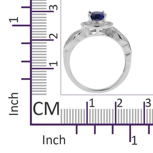 Simulated Blue Sapphire (Ovl),Simulated Diamond Ring in Rhodium Overlay Sterling Silver