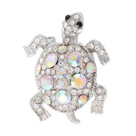 Multicolour Austrian Crystal Turtle Brooch in Silver Tone