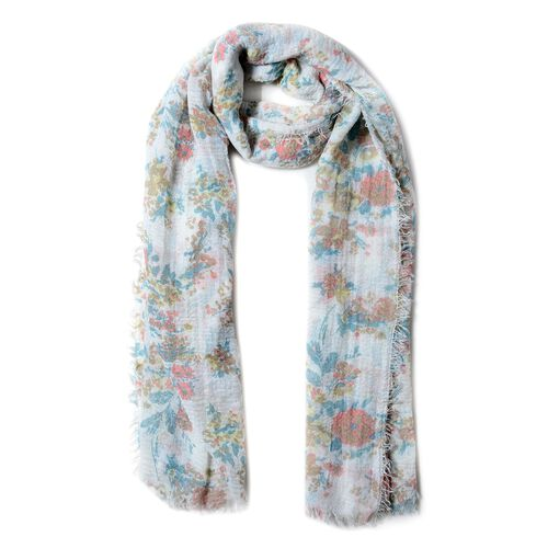 Pink and Multi Colour Small Flower Pattern Scarf (Size 180x90 Cm)