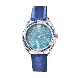 STRADA Japanese Movement Blue Crystal Studded Water Resistant Watch with Blue Strap