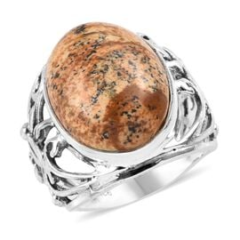 11.16 Ct Picture Jasper Leaves Solitaire Ring in Sterling Silver