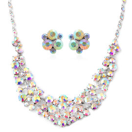2 Piece Set - Simulated Mystic White Crystal (Rnd) Necklace (Size 20 with 3 inch Extender) and Earri