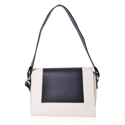 Hampton Black and White Colour Crossbody Bag with Adjustable and Removable Shoulder Strap (Size 24X18X8 Cm)