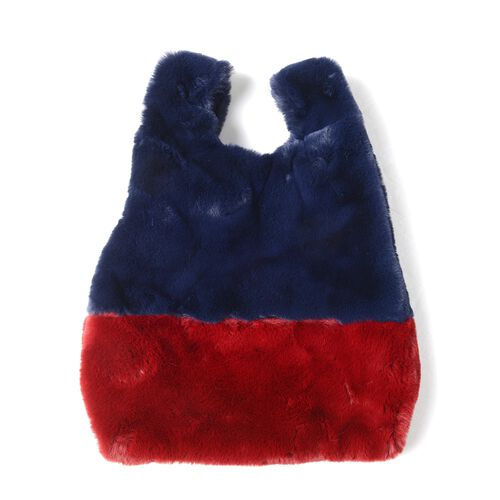 OTO-Red and Blue Colour Faux Fur Handbag (Size 25x38 Cm) and Scarf (Size 12x88Cm)