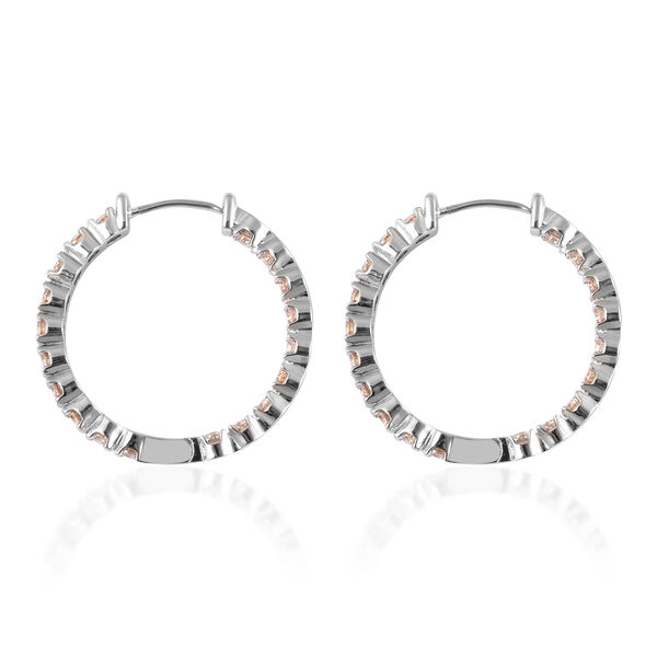 Simulated Champagne Colour Diamond (Rnd) Inside-Out Hoop Earrings (with Clasp) in Silver Tone 7.98 Ct.