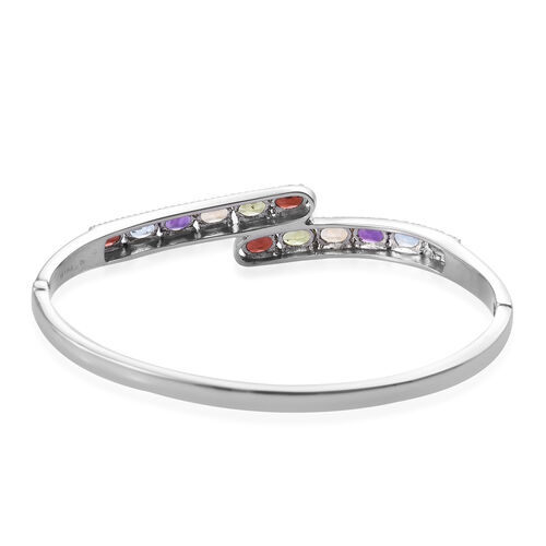 Multi Gemstone Bypass Bangle (Size 7.5) in Stainless Steel 6.000 Ct.