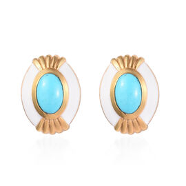 1 Carat Arizona Sleeping Beauty Turquoise Enamelled Stud Earrings in Gold Plated Sterling Silver