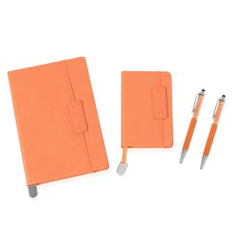 4 Piece Set - A5,A6 Notebook (Size 14.5x21.3x8 and 9x14x0.8 Cm) and Crystal Filled Pens (x2) - Orang