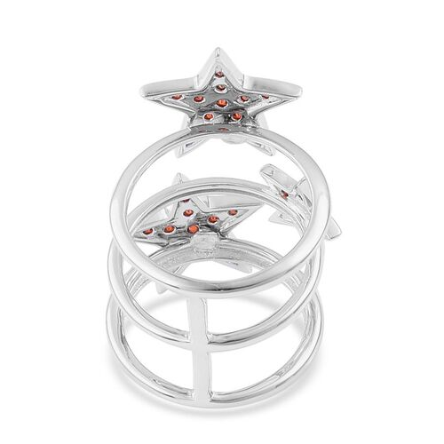 ELANZA Simulated Red Diamond  Star Ring in Black Rhodium Plated Sterling Silver