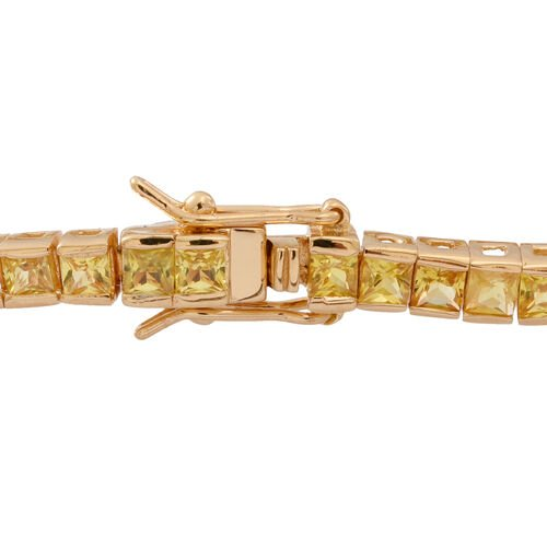AAA Yellow Sapphire (Sqr) Tennis Bracelet (Size 7.5) in 14K Gold Overlay Sterling Silver 9.000 Ct.