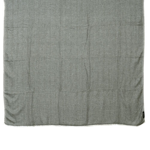 Luxury Collection Grey Herringbone Weave Cashmere Wool Throw (Size 254x140 Cm)
